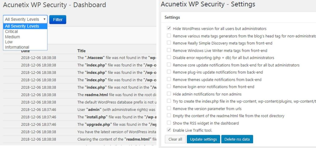 Acunetix WP Security plugin