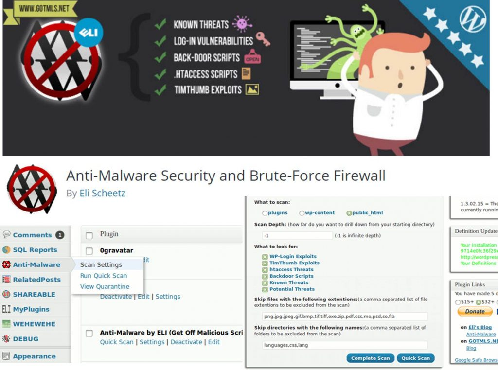 Anti-Malware Security and Brute Force Firewall