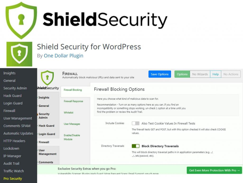 Shield Security plugin for WordPress