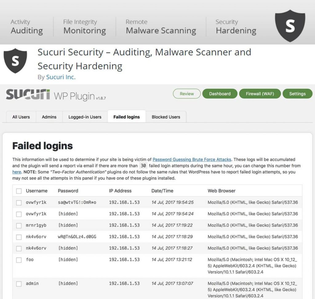 Sucuri Security plugin