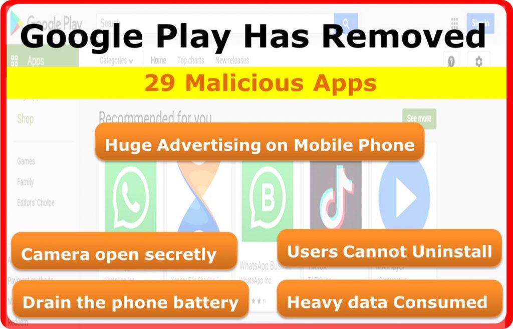 Google Play has removed 29 malicious apps
