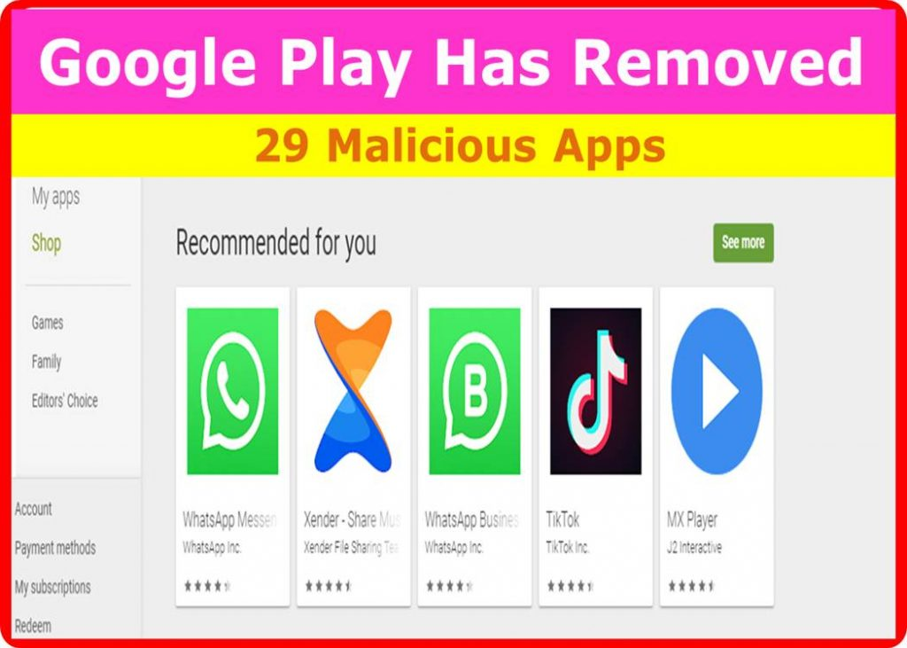 Google Play has removed malicious apps in 2019