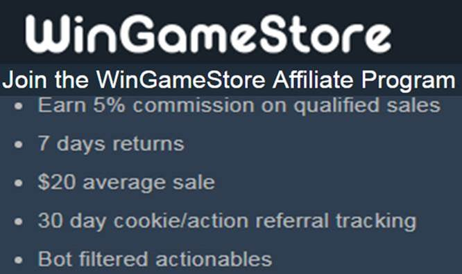 WinGameStore Affilaite website